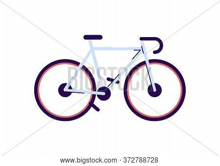 Sport Bicycle Semi Flat Rgb Color Vector Illustration. Professional Cyclist Equipment, Sportive Bike
