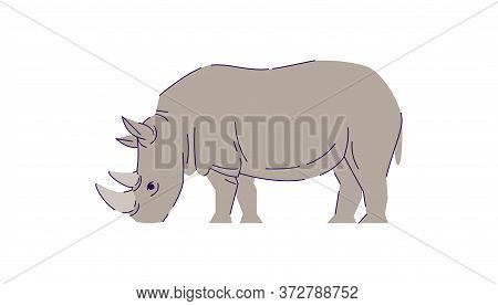 African Rhino Eating Semi Flat Rgb Color Vector Illustration. Indonesian Wildlife Mammal. Safari Con
