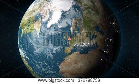 Location Of London, Uk On Globe. 3d Illustration