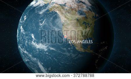 Location Of Los Angeles, California, Usa On Globe. 3d Illustration