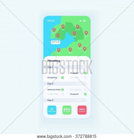 Trip Planner App Smartphone Interface Vector Template. Mobile App Page Day Mode Design Layout. Trave