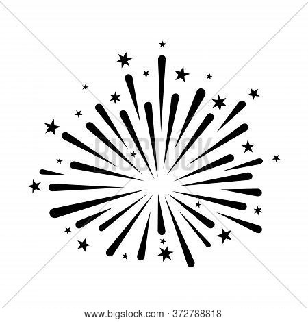 Firework Icon Vector Isolated On White Background, Firework With Star Icon Design Illustrations. Fir