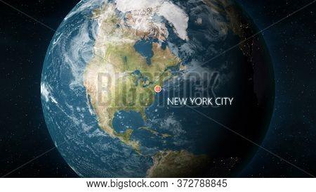 Location Of New York City, New York, Usa On Globe. 3d Illustration