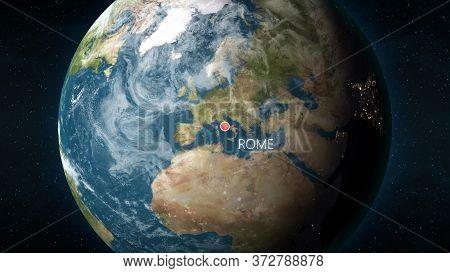 Location Of Rome, Italy On Globe. 3d Illustration