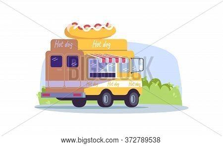Hot Dog Truck Semi Flat Vector Illustration. Van To Sell Snack On Seasonal Urban Market. Mobile Bist