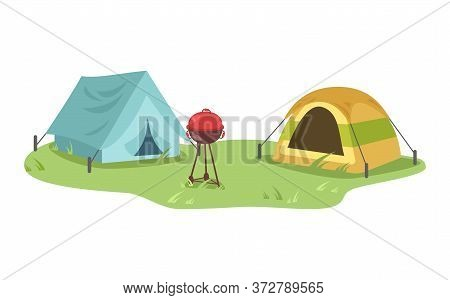Campsite Semi Flat Vector Illustration. Opposing Tents With Equipment For Grill. Camping Outdoors An