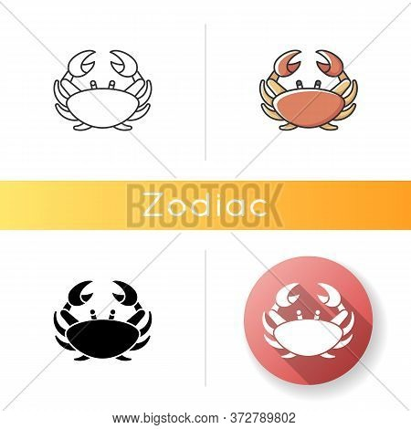 Cancer Zodiac Sign Icon. Astrological Crab. Linear Black And Rgb Color Styles. Horoscope Birth Sign.
