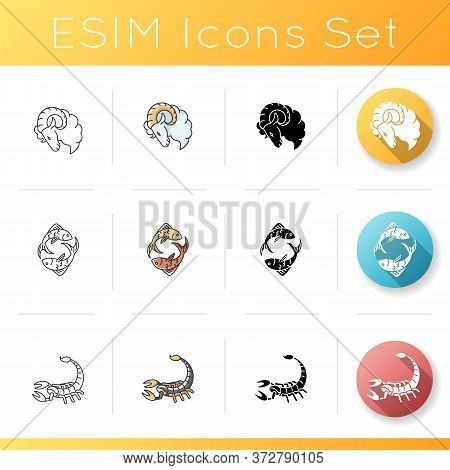 Zodiac Signs Icons Set. Linear, Black And Rgb Color Styles. Aries, Scorpio And Pisces Horoscope Symb