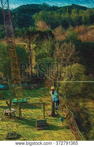 Girl Descending By Cable In A Sport Called Zip-line Over Meadows And Trees On Valley Near Bento Gonç