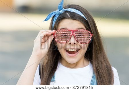 My Favorite Accessory. Happy Girl Wear Fancy Glasses Outdoors. Fashion Accessory. Little Child With
