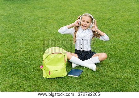 Education Is A Best Friend. Concept Of Education. Ordinary Day Of Online Learning. Girl Listen Music