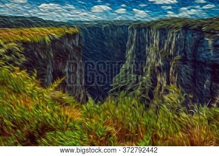 Itaimbezinho Canyon With Steep Rocky Cliffs In A Flat Plateau Covered By Forest Near Cambara Do Sul.