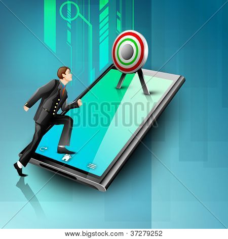 Business people aiming target on tablet screen, Business concept. EPS 10.