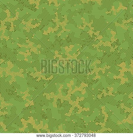 Seamless Vector Patterd Design.  Repeated Vector Khaki Point, Camo Clouds. Beige Seamless Halftone C