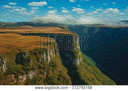 Fortaleza Canyon Shaped By Steep Rocky Cliffs With Forest And Flat Plateau Near Cambara Do Sul. A Sm