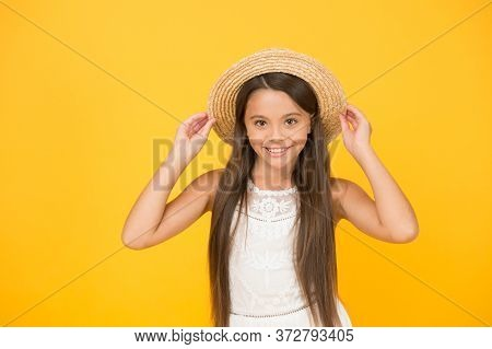 Have Funny Summer Holiday. Tropical Tour. Sale And Discount. Goods For Kids. Adorable Little Girl We