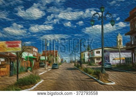 Flamboyant Light Poles And Houses In The Getulio Vargas Avenue, The Main Street Of Cambara Do Sul. A