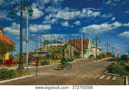 Flamboyant Light Poles And Cyclist Pedaling On The Getulio Vargas, The Main Street Of Cambara Do Sul