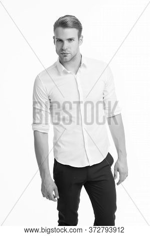 Mens Fashion And Style. Caucasian Guy Wear Elegant Style Isolated On White. Handsome Man With Unshav