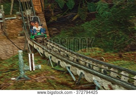 Canela, Brazil - July 21, 2019. People Having Fun On Sled Among Trees At The Alpen Amusement Park In