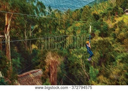 Little Girl Descending By Cables In A Sport Called Zip-line Over Green Forest In A Valley Near Canel