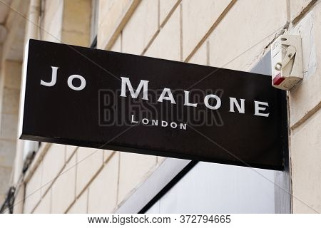 Bordeaux , Aquitaine / France - 06 14 2020 : Jo Malone London Logo Sign Of British Perfume Store And