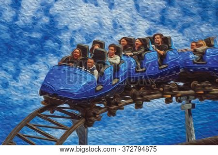 Canela, Brazil - July 21, 2019. People Having Fun On Roller Coaster In A Cloudy Day At The Alpen Amu