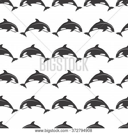 Simple Whale Orcas On White Background Seamless Pattern. Vector Illustration. Repeating Pattern Desi