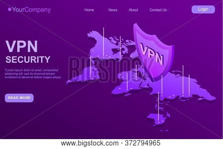 Secure Vpn Connection Concept. Isometric Vector Illustration In Ultraviolet Colors. Virtual Private