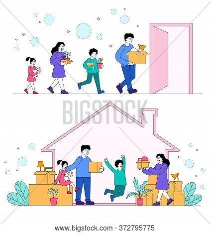 Family Moving To Anew House Concept With The Parents And Children Carrying Boxes And Plants Out Of T