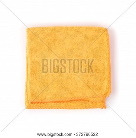 Orange Microfiber Cleaning Cloth Isolated On White Background
