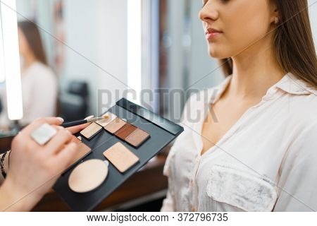 Cosmetician puts shadows on a woman's face