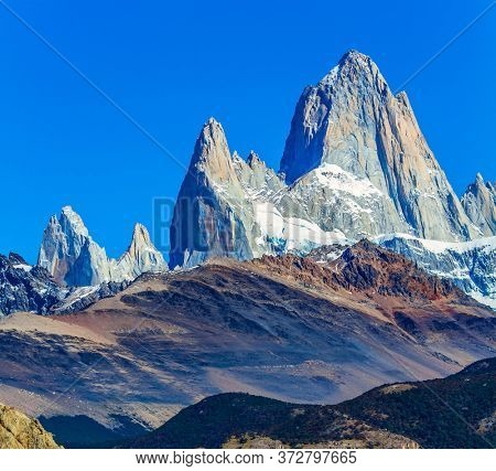 Guanaco graze on the hills. Fitzroi - mountain peak in Patagonia in the border area between Argentina and Chile. The mountain range by sunrise. The concept of extreme, active and photo tourism
