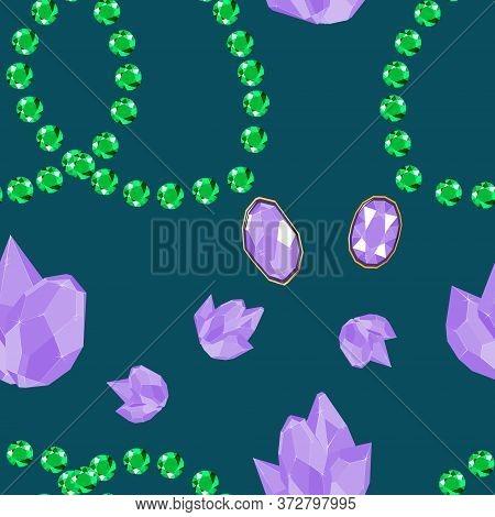 Lilac Crystal Jewels And Green Emerald Bracelets Seamless Pattern. Luxury Jewels Geometric Precious