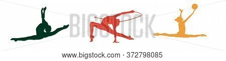 Vector Silhouettes Of Gymnasts On A White Background With Gymnastic Objects