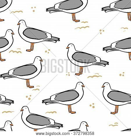 Seamless Pattern With Seagulls And Sand. Cute Cartoon Seagulls On A Coast. Summer Vacation. Good For