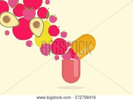Vitamins And Supplements Concept. Creative Vector Illustration Of Fresh Fruits Coming Out Of Open Pi