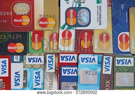 Chernihiv  / Ukraine - 08 February 2020 / Ukraine: Credit Cards With Visa And Mastercard Brand Logo.