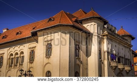 Town Hall Or City Hall In Campulung Muscel, Arges County, Romania. Beautiful Architectural Building