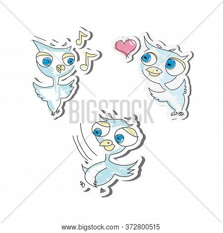 Sticker Cute Birds. Vector Graphics. Isolated On A White Background.