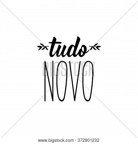 Brazilian Lettering. Translation From Portuguese - Everything New. Modern Vector Brush Calligraphy.