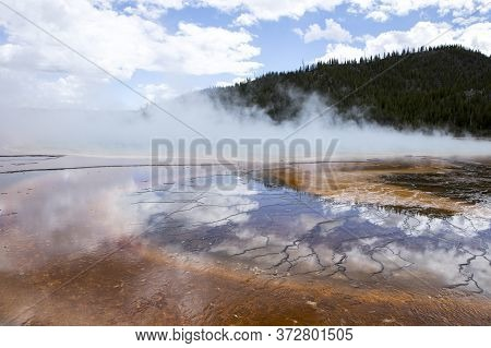 The Grand Prismatic Pool In Yellowstone National Park.
