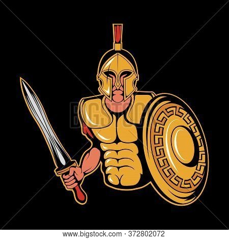 Illustration Of A Roman Warrior. Spartan For Tattoo Or T-shirt Print. Roman Illustration For A Sport