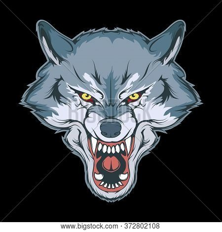Vector Illustration Of A Wolf. Angry Animal For Tattoo Or T-shirt Print. Predator Illustration For A
