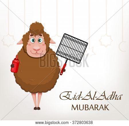 Eid Al-adha Mubarak Greeting Card. Traditional Muslim Holiday. Kurban Bayrami. Funny Cartoon Charact