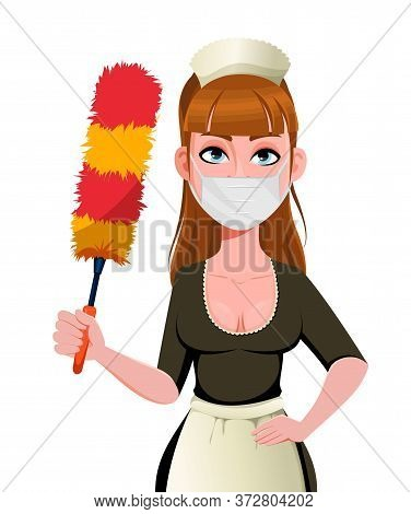 Maid, Cleaning Lady, Cleaning Woman In Protective Mask Holding Dust Brush. Cheerful Housemaid Cartoo