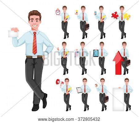 Successful Business Man, Set Of Thirteen Poses. Handsome Businessman In Business Clothes. Cheerful C