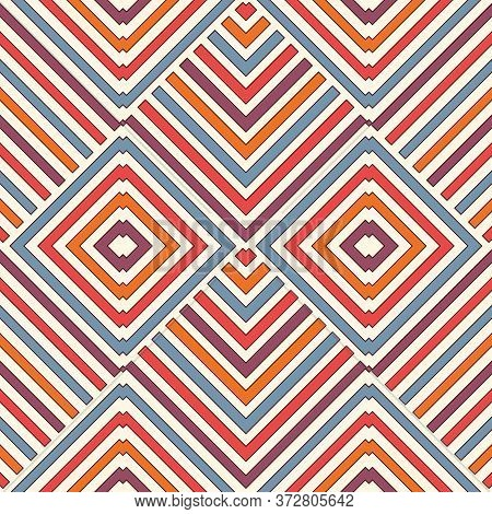 Wicker Seamless Pattern With Geometric Ornament. Vivid Colors Background With Overlapping Stripes. F