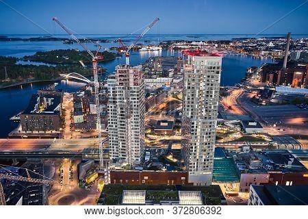Helsinki, Finland - June 13, 2020: Aerial View Of First Skyscrapers In Finland In Kalasatama Distric