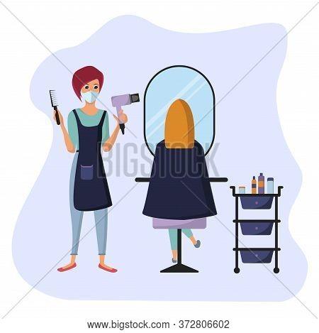 Female Hairdresser Wearing Surgical Mask, Hair Stylist, Beauty Salon, Healthcare, Hair Salon